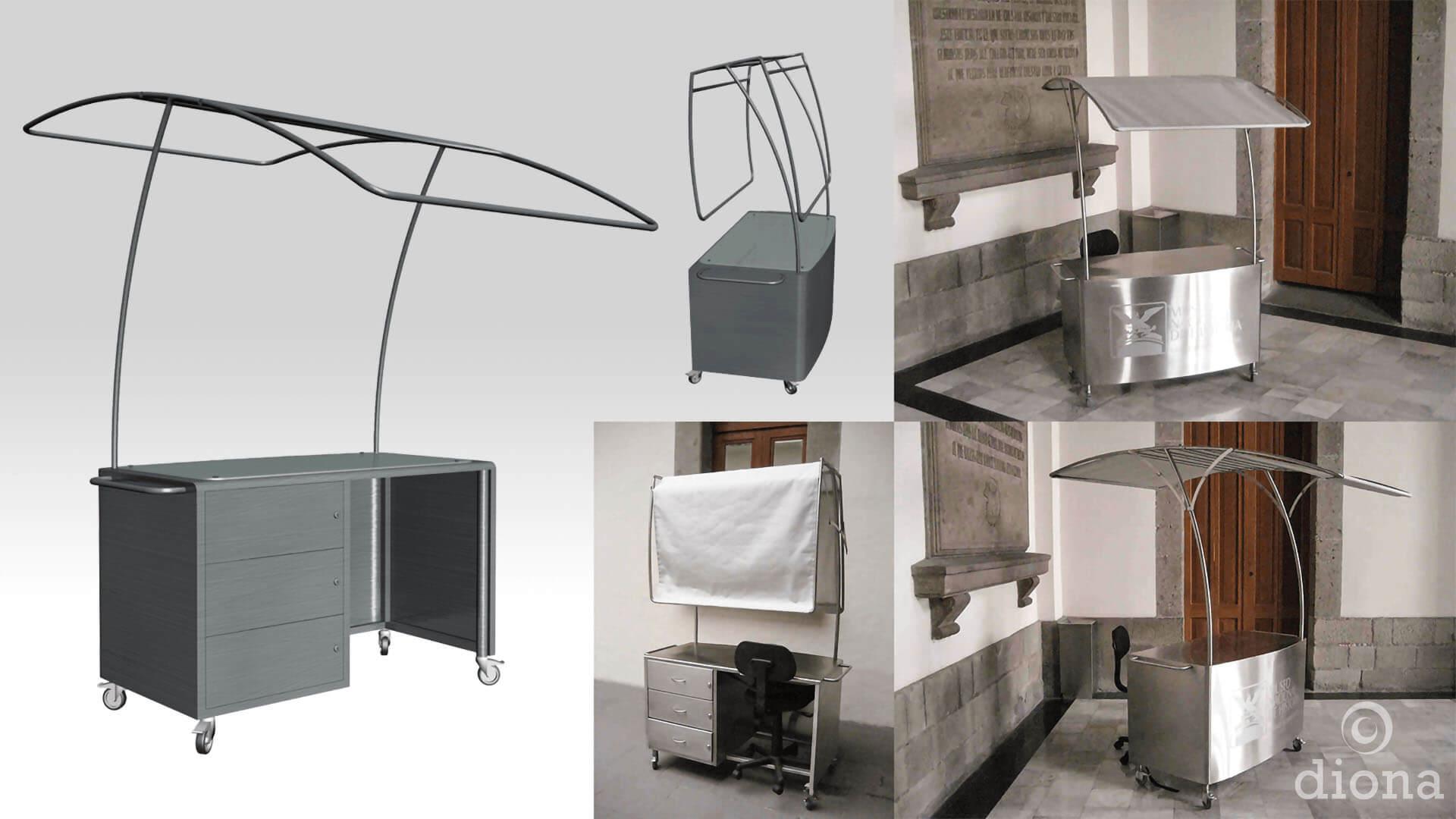 diseño industrial, mobiliario - Quiosco de información Alcázar, Castillo de Chapultepec, diona
